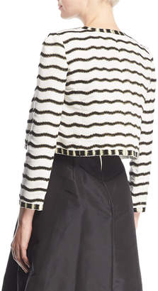 Oscar de la Renta Round-Neck Open-Front Beaded Striped Jacket
