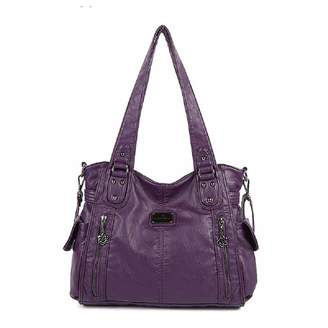 EHOMEE Angelkiss Women Shoulder Bag Top-handle Handbag Retro Satchel Soft  Tote Bag PU Leather 038ce5c3f2c65