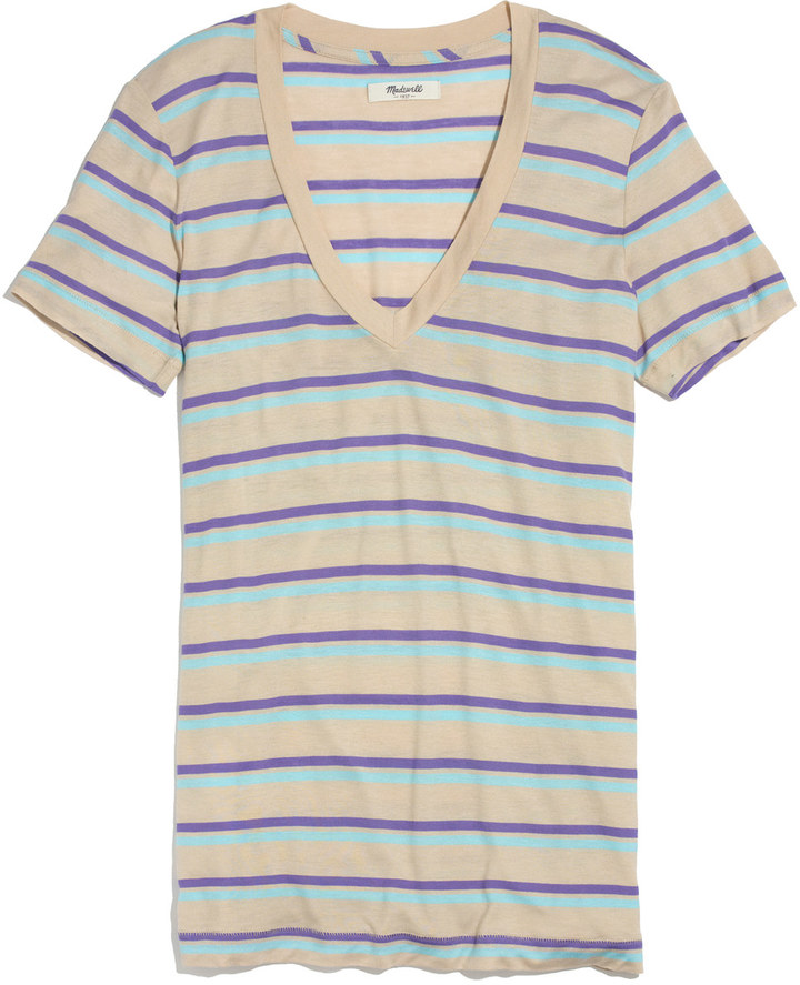 Madewell Striped Boyfriend V-Neck Tee