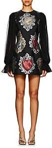 Dolce & Gabbana Women's Heart-Jacquard Long-Sleeve Cocktail Dress - Black
