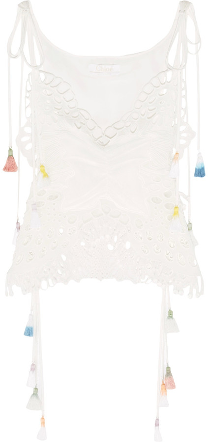 Chloé Chloé Tasseled broderie anglaise and tulle-paneled linen-blend camisole