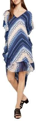 BCBGeneration Shibori Chevron Asymmetrical Midi Dress