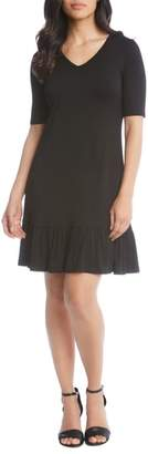 Karen Kane V-Neck Ruffle Hem Dress