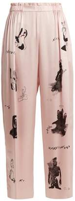 Claire Barrow - Dog Print Wide Leg Silk Satin Trousers - Womens - Light Pink