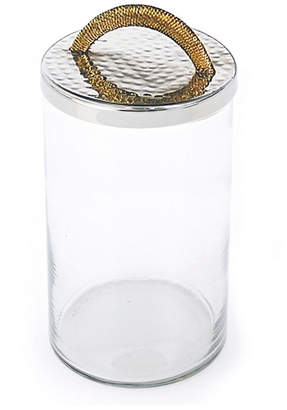 Classic Touch Glass Caniste with Silver/Gold Lid