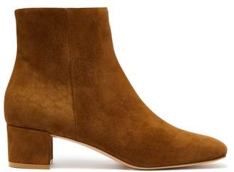 Gianvito Rossi Block Heel 45 Suede Ankle Boots - Womens - Tan