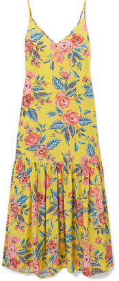 Leone we are Elke Floral-print Silk Crepe De Chine Maxi Dress - Yellow