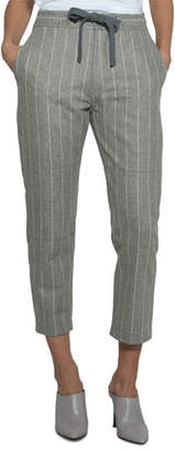 Eleventy Pinstriped Wool Drawstring Pants