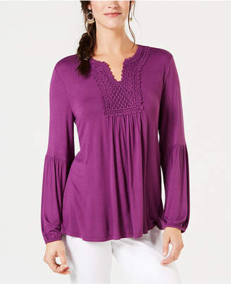 Style&Co. Style & Co Crochet-Trim Top