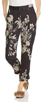 Donna Karan Floral Cropped Cargo Pants
