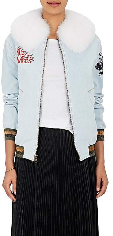 Womens Fur-Collar Denim Bomber Jacket Mr & Mrs Italy g27g7