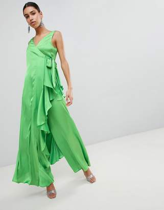 Asos DESIGN Satin Jumpsuit with Waterfall Wrap