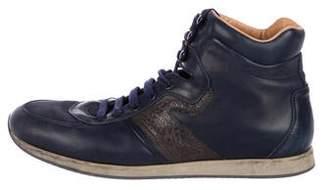 Salvatore Ferragamo Leather High-Top Sneakers