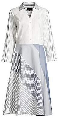 Donna Karan Women's Mixed Stripe Button-Front Cotton Dress