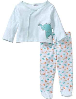 Quiltex Newborn Baby Boy Take-Me-Home Kimono Top & Footed Pant, 2pc Set