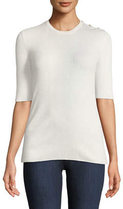 Tory Burch Taylor Lightweight Rib-Knit Cashmere Sweater