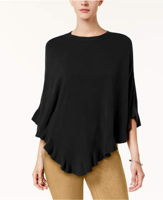 Karen Scott Petite Ruffle-Trim Poncho, Created for Macy's