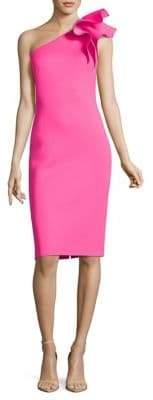 Eliza J Fitted One Shoulder Ruffle Dress