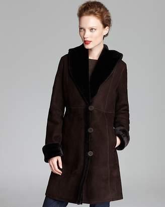 Maximilian Furs Maximilian Shearling Shawl Collar Coat