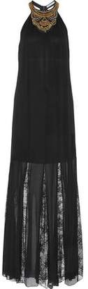 Alice + Olivia Lois Embellished Crepe And Lace-Paneled Chiffon Gown