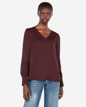 Express Double V-Neck Tie Back Button Sleeve Top
