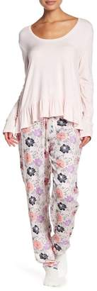 Josie Long Sleeve & Print Skinny Pants 2-Piece Pajama Set