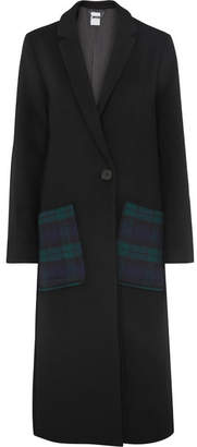 Kith - Eva Tartan-paneled Wool-blend Coat - Black