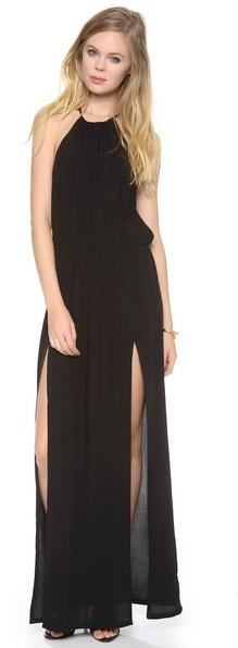 Blu Moon Slit Halter Dress