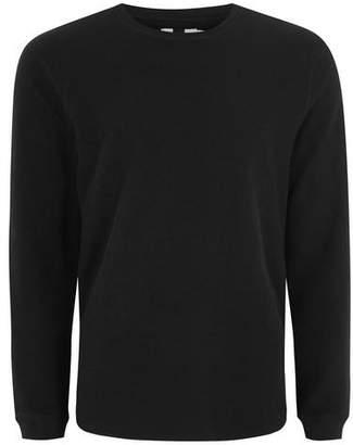 Topman Mens Black Slim Waffle T-Shirt