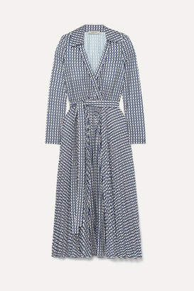 Valentino Printed Stretch-jersey Wrap Dress - Blue