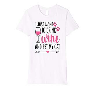 Womens I Just Want To Drink Wine And Pet My Cat Funny Cute Gift Premium T-Shirt