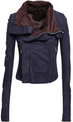 Rick Owens Stretch-knit Paneled Suede Biker Jacket