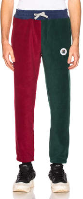 Leon Aime Dore Polar Fleece Blocked Pant in Navy & Burgundy & Green | FWRD