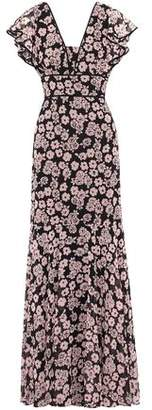 Milly Ruffled Floral-Print Crepe De Chine Gown