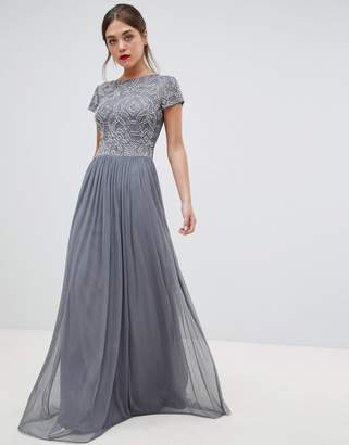 Frock And Frill Frock & Frill pleated maxi dress with embellished upper