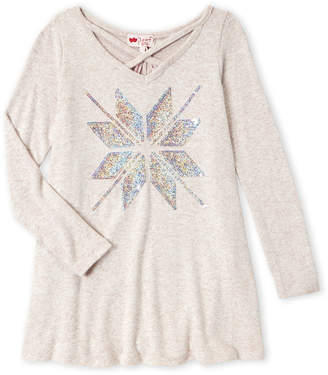 Poof Girl (Girls 7-16) Sequin Snowflake Sweater