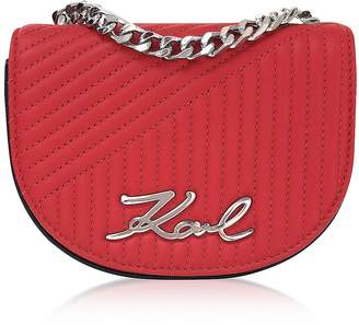 Karl Lagerfeld Paris K/Signature Fire Red Quilted Leather Shoulder Bag