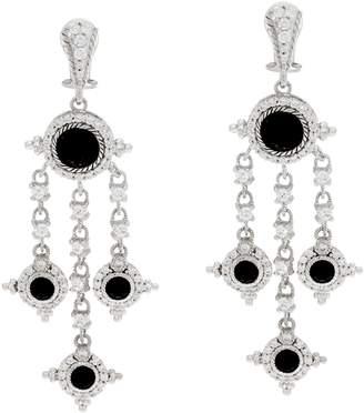 Judith Ripka Sterling Silver Faceted Black Spinel Earrings