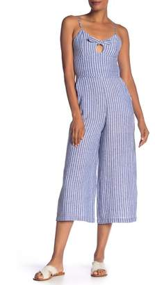 Rachel Roy Peek-a-Boo Striped Crop Jumpsuit