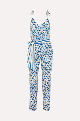 Leone We Are we are Cole Printed Silk-blend Crepe De Chine Jumpsuit - Blue