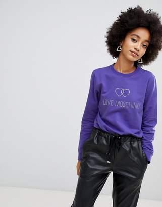 Love Moschino Rhinestone logo sweatshirt
