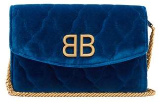 Balenciaga Bb Quilted Velvet Clutch - Womens - Blue