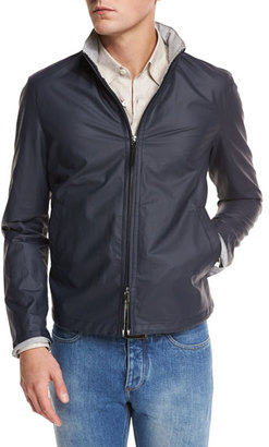 Ermenegildo Zegna Waxed Cotton-Blend Bomber Jacket, Navy $1,595 thestylecure.com