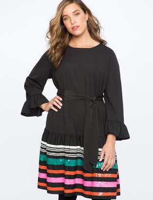ELOQUII Flounce Sleeve Dress with Embellished Skirt