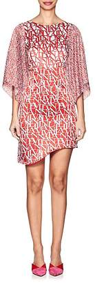Lanvin Women's Logo Silk Asymmetric Minidress