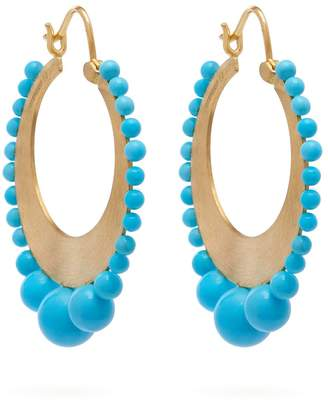 Irene Neuwirth 18kt gold & Kingman turquoise earrings