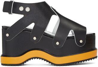 Proenza Schouler Black & Orange Flatform Sandals $1,050 thestylecure.com