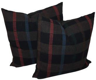 One Kings Lane Vintage Thick Striped Plaid Pillows - Set of 2 - Luis Rodriquez
