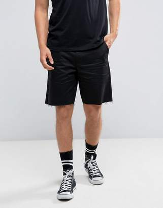 Religion Chino Shorts In Skater Fit With Raw Edge