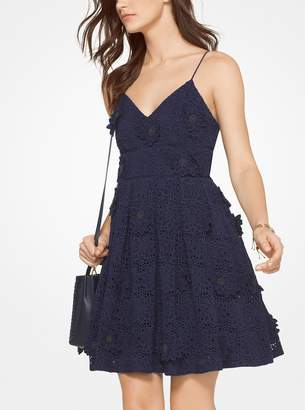 MICHAEL Michael Kors Floral Applique Lace Cotton Dress